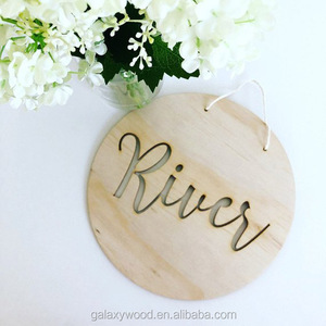 OEM supply Custom Laser Cut wood name plaque for home decoration