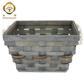 Grey bulk wood chip laundry basket wood hamper basket for home storage