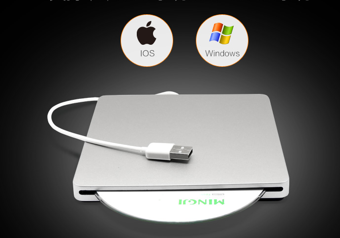 Super Slim 9.5mm USB 3.0 Externe aluminium DVD-RW/CD-RW Brander Recorder Optische Drive CD DVD Writer ondersteuning