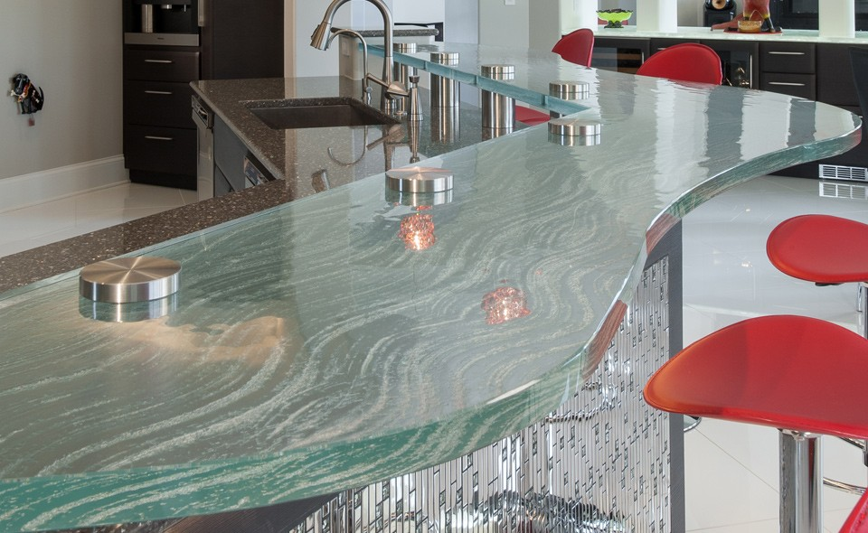 Serpentine Shape Flat Teapoy Table Glass Countertop Price