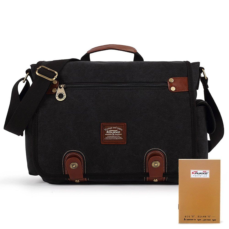 KAUKKO Canvas Leather Messenger Bag Daypack Multifunction Shoulder Bags Handbags