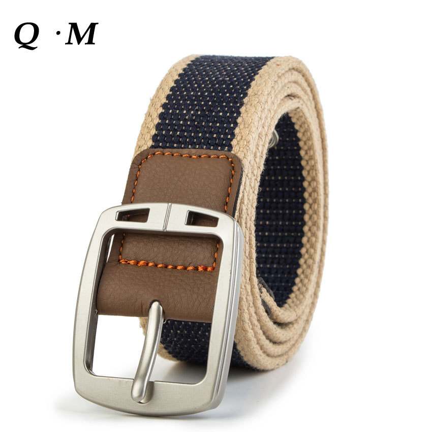 Real Solid Brand Designer Men Belts For Men Cinto Tatico Mens Fashion Pin Buckle Canvas Cowboy Knitted Strap Casual Striped Belt
