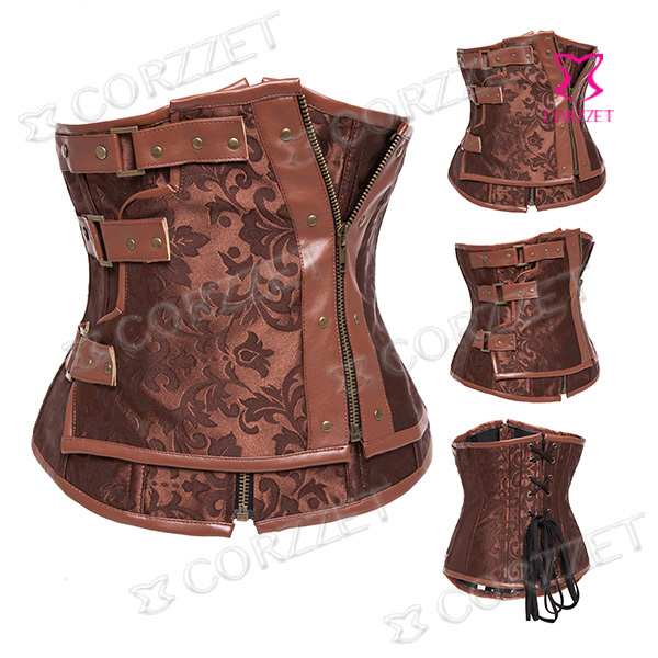 f95f9894cfb Get Quotations · Brown Brocade Leather Vintage Steel Boned Steampunk Corset  Underbust Corselet Bustier Burlesque Korsett For Women Waist Training