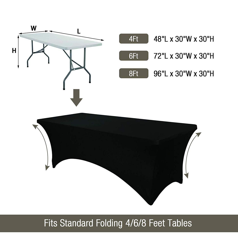 6ft spa sala da pranzo di stirata dello spandex tovaglia letto nero bianco da pranzo del partito di plastica tavolo da pranzo copertura per ciglia