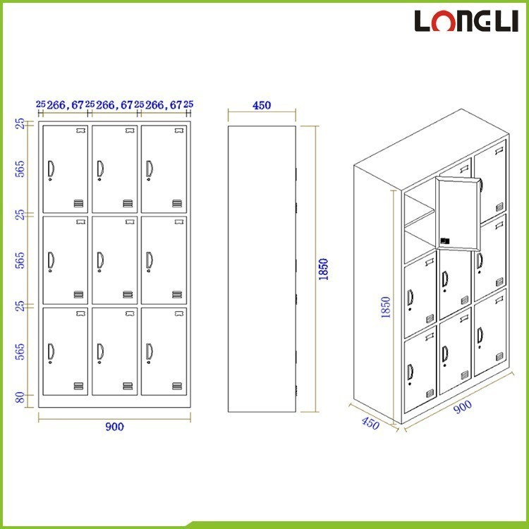 Door clothing steel locker school storage metal