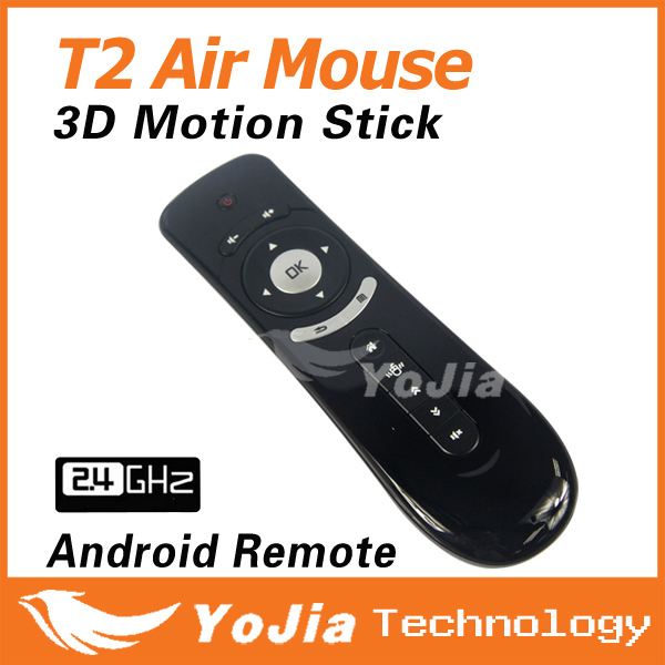 Original Gyroscope Mini Fly Air Mouse T2 2.4G Wireless Keyboard Mouse Android remote control 3D Sense Motion Stick