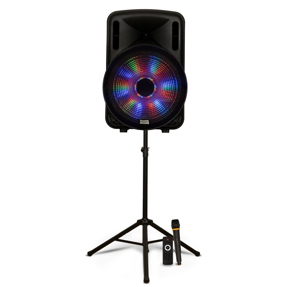 "Acoustic Audio PRTY151 Battery Powered 15"" Bluetooth LED Speaker with Wireless Mic and Stand"