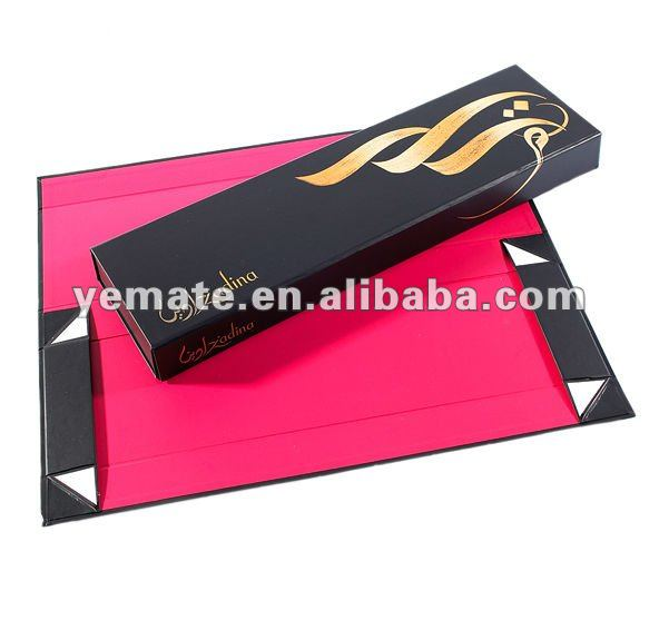 New product for 2013 black pink foldable hair packaging design box, hair weave packaging box,paper hair extension packaging box
