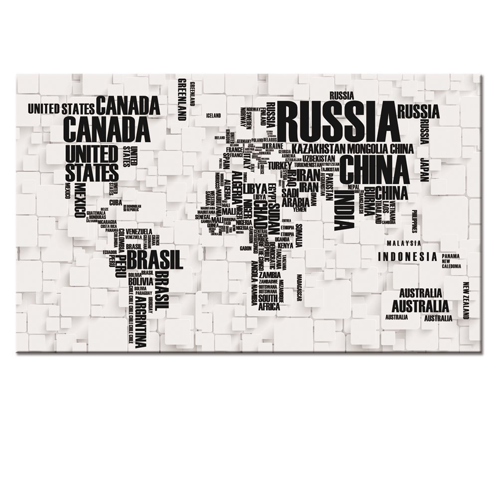 """Large Size 24""""x40"""" Map Canvas Wall Art Map Poster Prints,Well Designed Words World Map Printed On Canvas,Ready Hanging ON,World Map Canvas Picture Art Wall Decor"""