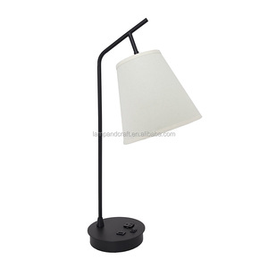 USA quality Inn project hotel desk lamp with USB electric outlet switch on the base with beige linen lamp shade