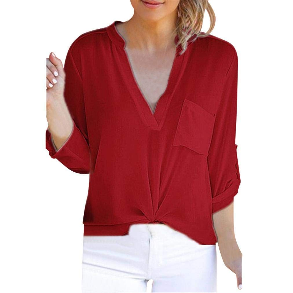 Tops Women Short Sleeve, Women Long Sleeve Solid Chiffon Pocket T-Shirts Casual Loose Tops Tunic Blouse