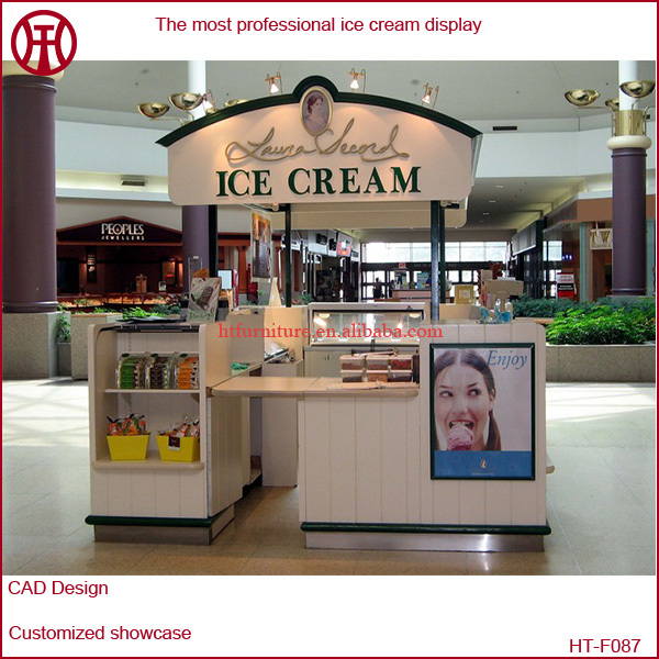 Shopping Mall Small Cute Round Ice Cream Kiosk With Baking
