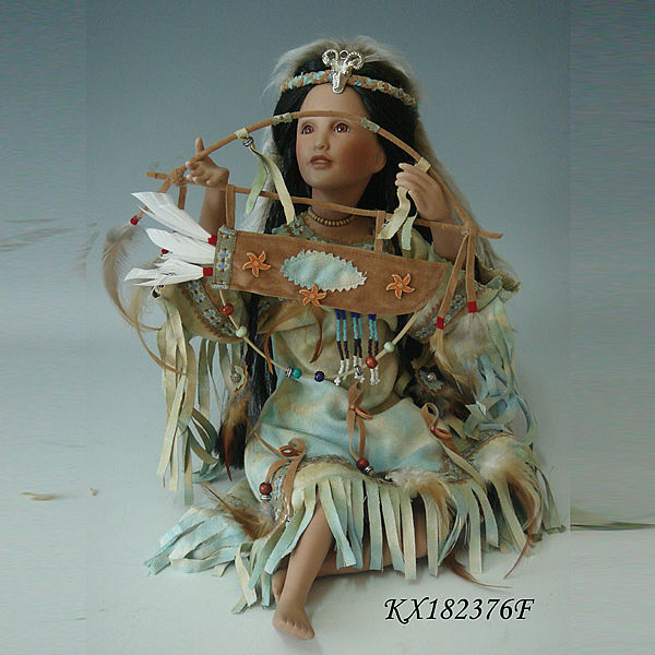 18inch Native American Baby Doll Girl Sitting Long Black