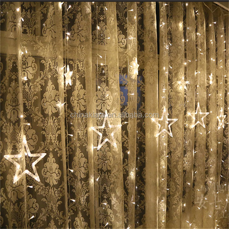 Top Sale Party Decoration Warm White Led Fairy Star Led Curtain String