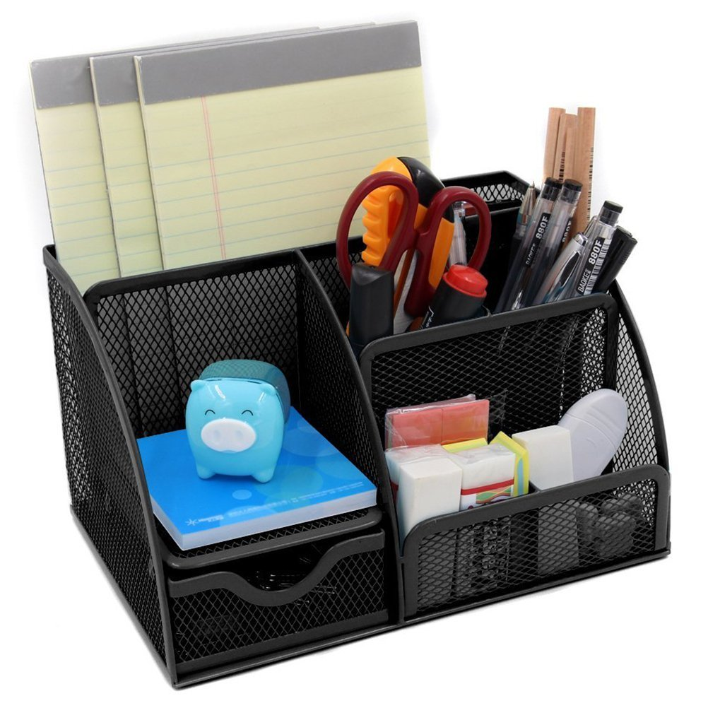 WINOMO Desk Tidy Organiser Pen Pot Holder Mesh Stationery Container  Organizer Caddy Compartment Office Supply