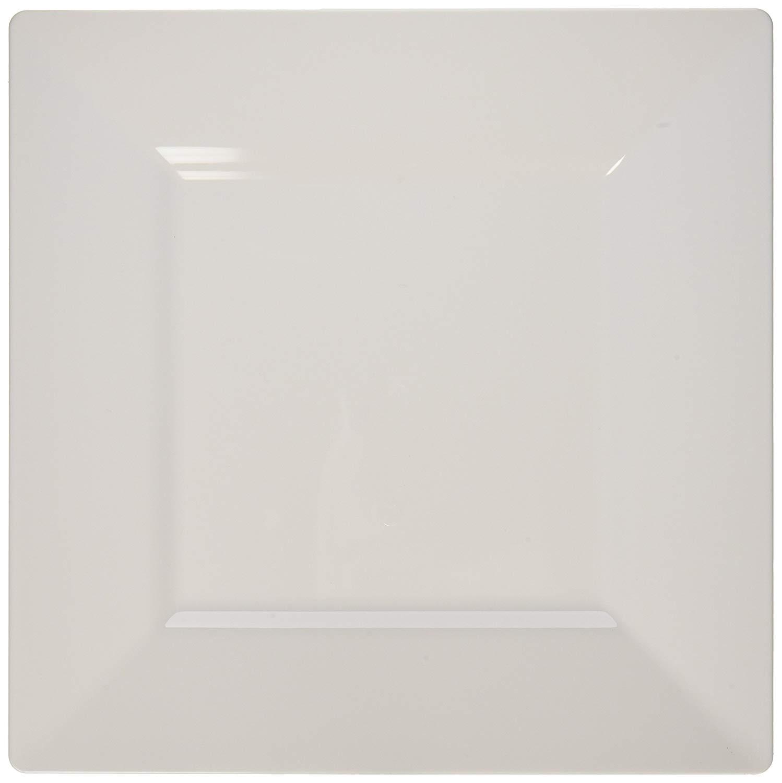 "White Plastic Dinner Plate, Square Plastic Dinner Plate - 10.8"" - Square - Premium Plastic - White - Disposable - 100ct Box - Restaurantware"