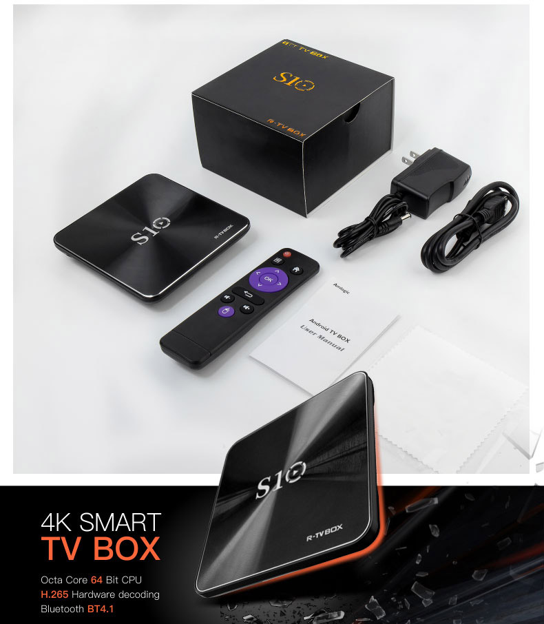 2017 Android TV Box R-TV BOX S10 S912 Octa Core 2G+16G Android 7.1 BT4.1 4K Smart TV Box