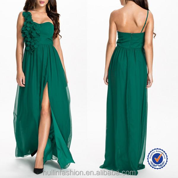016511dcff58 Floreale abito lungo 100% poliestere smeraldo in chiffon abito da sera verde  ...