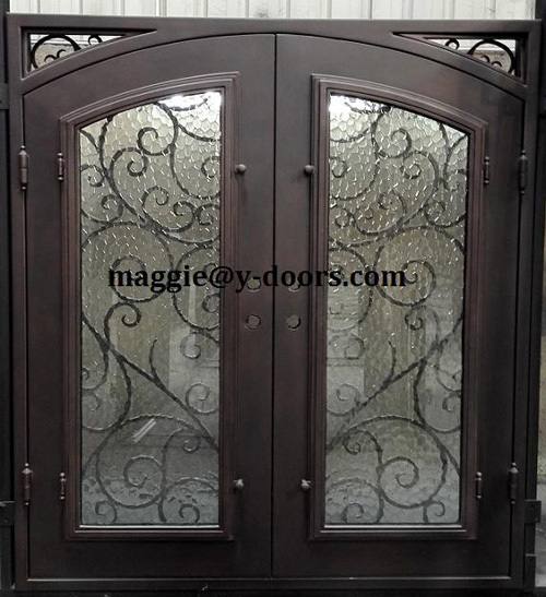 Wrought iron double door safety entry door steel front for Steel front doors for sale
