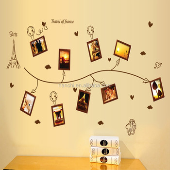 Romantic Eiffel Tower Wall Stickers With Photo Frame Paper Airplane ...