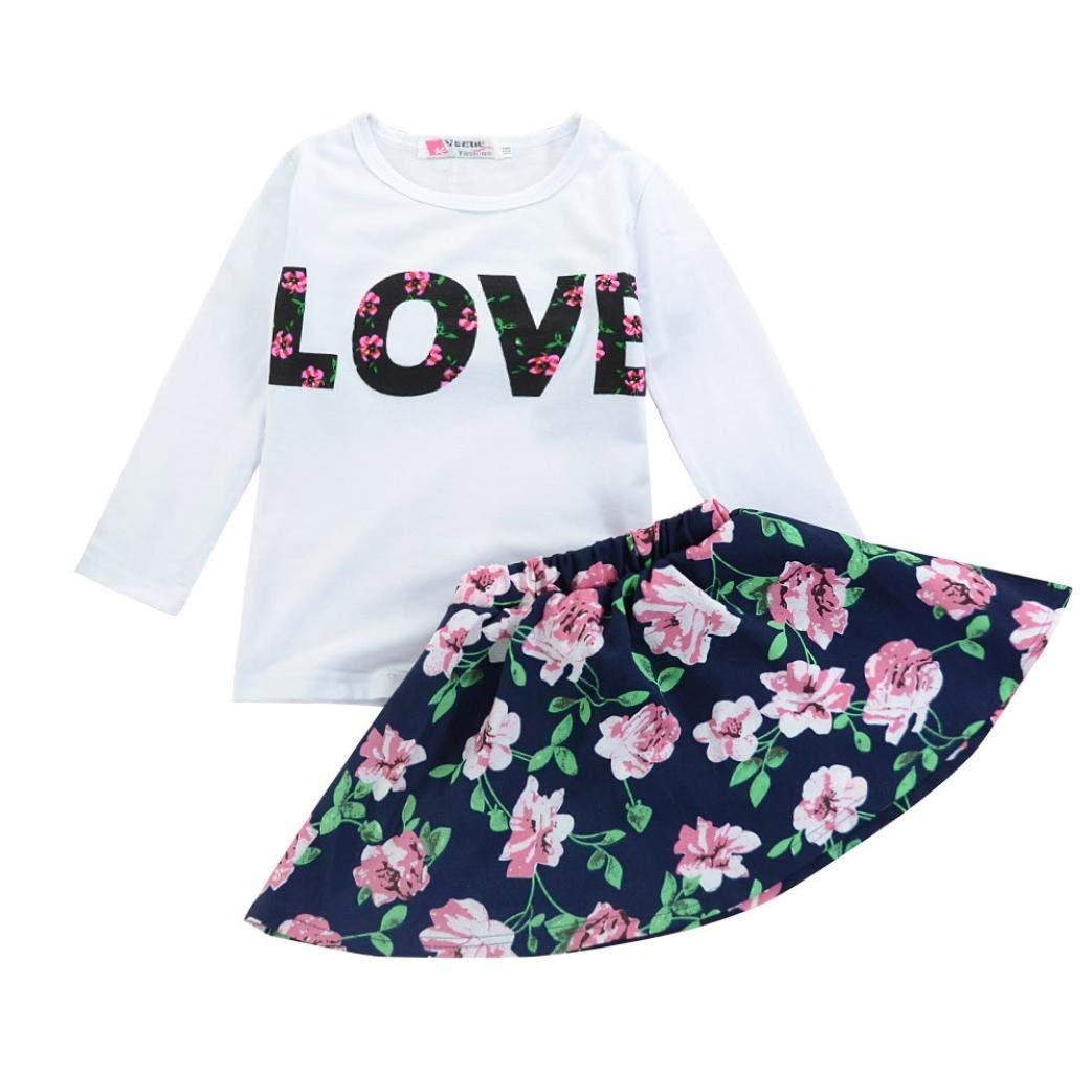 0a19499c2588 Get Quotations · Kehen Kid Toddler Baby Girl 2Pc Valentine s Day Outfits  Love T-Shirt Tops+Flower