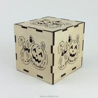 Laser cut wood pumpkin candle holder Halloween decor