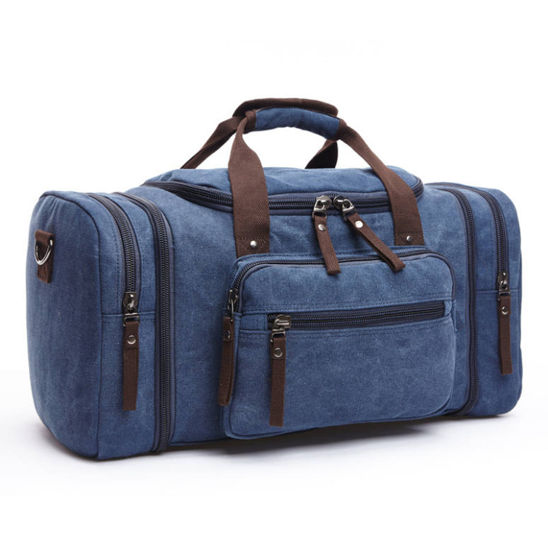 Wholesale high density durable water-washed 16oz Canvas Duffel Bag Holdall Weekend Gym Travel Bag
