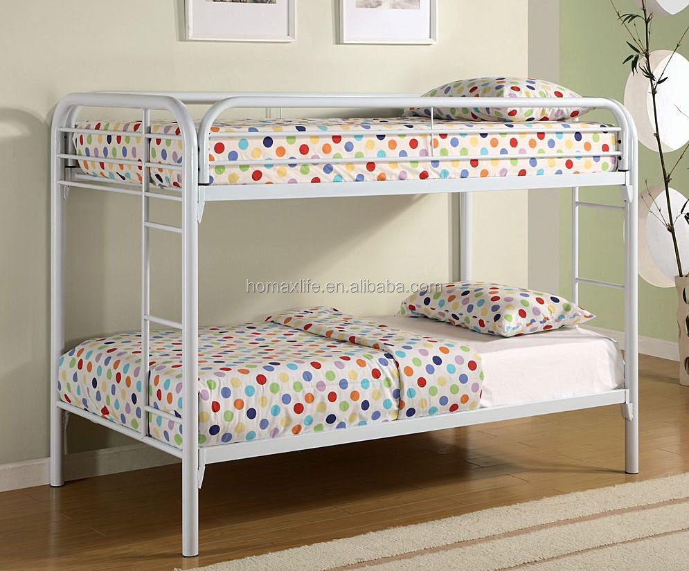 white double decker iron bed kids bed