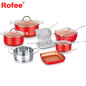 Aluminum copper ceramic red domo cookware induction cooking pots and pans cookware set