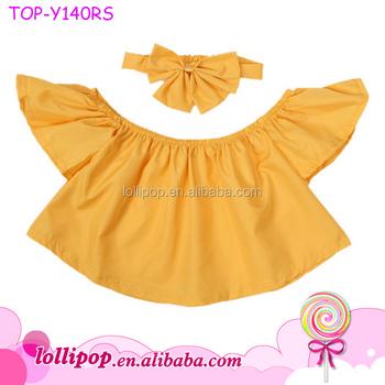 27b6a1097952 Mustard Pullover Falbala Toddler Kids Baby Girl Off Shoulder Ruffle T-Shirt  Flutter Sleeve Crop