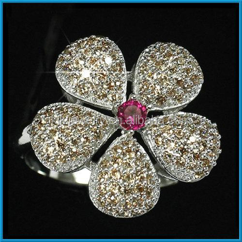Fashion big flower design pave diamond rings for women
