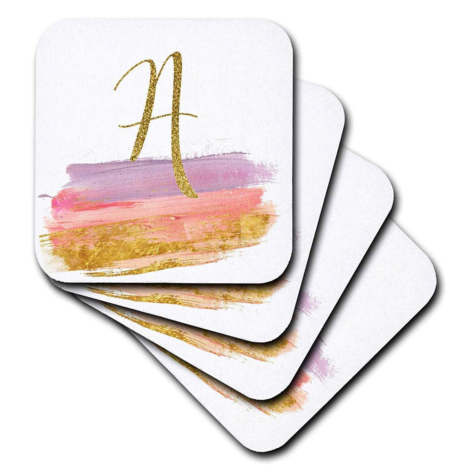 3dRose Anne Marie Baugh - Monograms - Modern Purple, Pink, Gold Brush Strokes Monogram A - set of 4 Coasters - Soft (cst_267745_1)