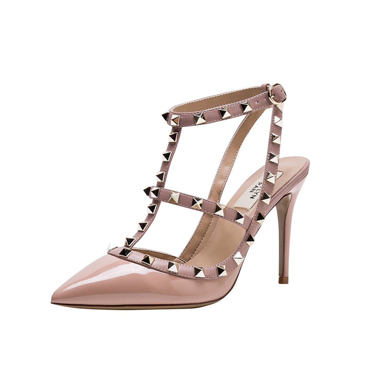 dbb6c16b3c8f2 Get Quotations · Kaitlyn Pan Pointed Toe Studded Slingback High Heel  Leather Pumps