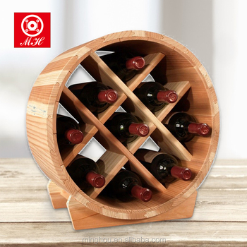 Wooden Barrel Wine Rack Free Standing Wine Display Rack Round Wine