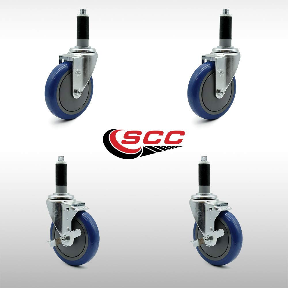 "Service Caster - 5"" x 1.25"" Stainless Steel Blue Polyurethane Wheels Caster Set of 4-2 Swivel Stainless Casters w/Brake w/1"" Expanding Stem/2 Swivel"