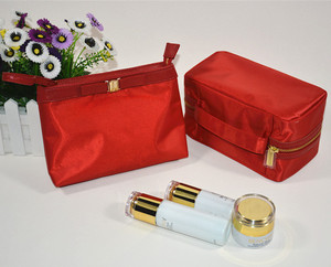Red Cosmetic Bag Women Wholesale Polyester Custom Pouch Shenzhen Factory Price