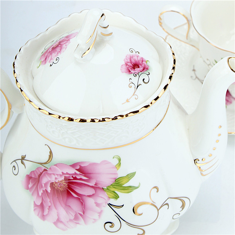 Bright spring floral fine afternoon tea set with bamboo stand for hotel