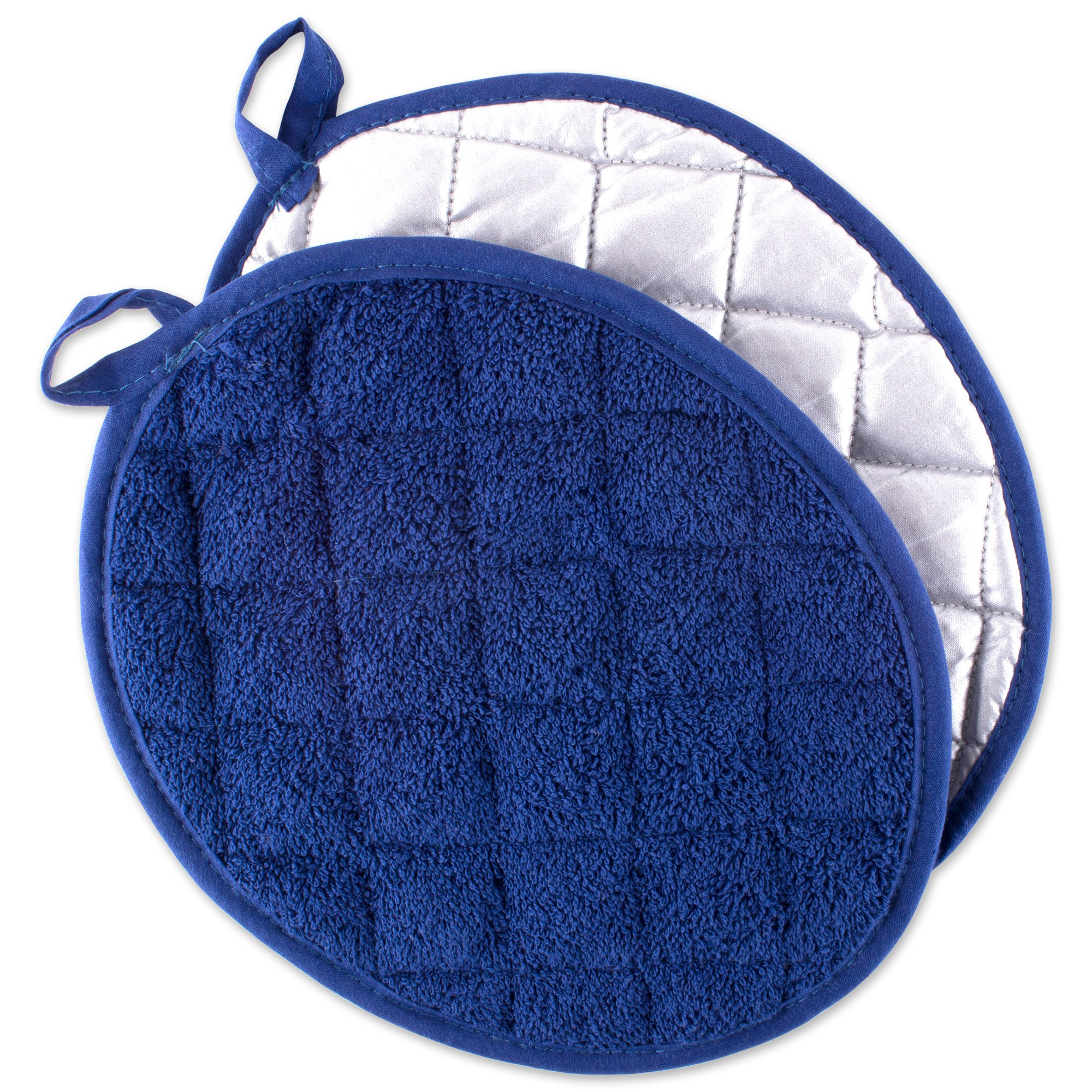 DII Everyday Kitchen Basic Oval Terry Pot Holder (Set of 2), 9.5 x 7.5, Blue