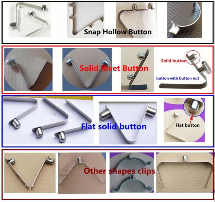 snap button V Shape Spring Clips/Spring Clips with button for Tube Clamps loaded umbrella locking pin