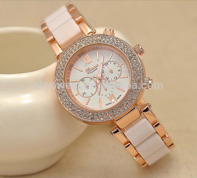 Wanita fancy luxury perhiasan, Enamel Keramik band wrist watch