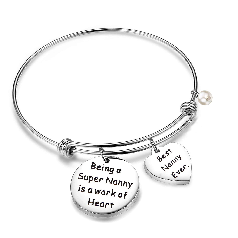 RQIER Nanny Bracelet Super Nanny Expandable Charm Bangle Nanny Jewelry Babysitter Gift