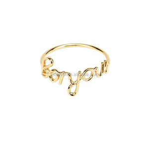 Gemnel fashion gold plated bonjour alphabet ring designs for women