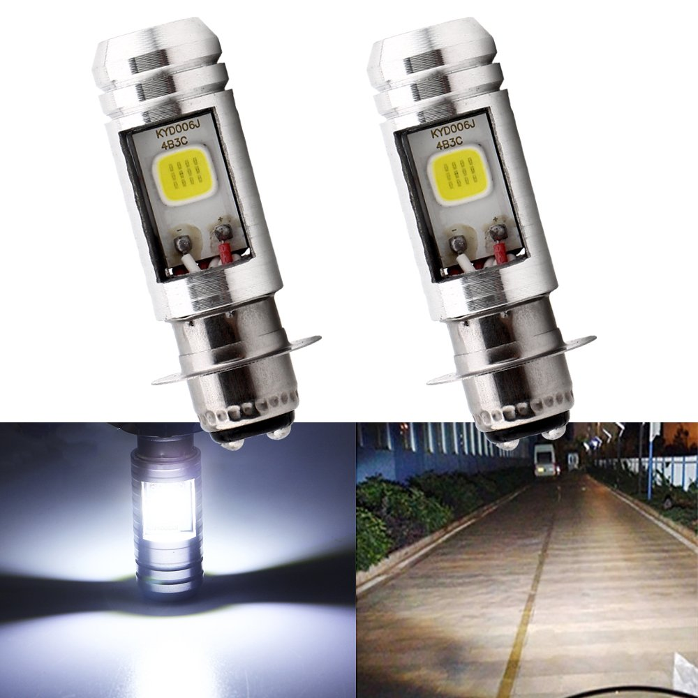 EverBrightt P15D Motorcycle Headlights Lamp 3 COB 18W LED Bulbs High Low Beam White Pack of 2