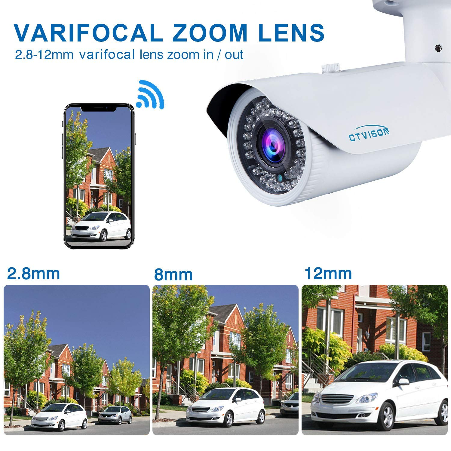 PoE IP Kamera Açık Mermi 2MP 4X Optik Varifocal Zoom Onvif Ses Güvenlik Gözetim HD1080P