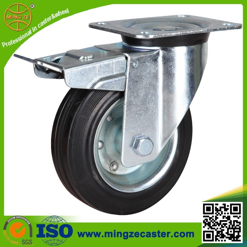 Industrial black rubber wheels transport swivel cater with brake