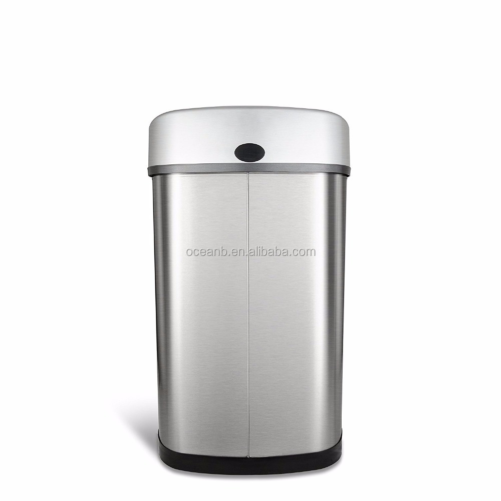 Home Kitchen Automatic Motion Sensor Trash Can Stainless Steel Garbage Bin