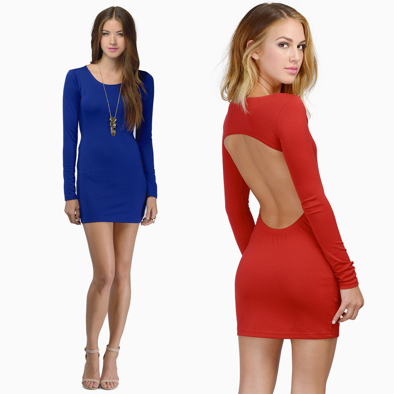 Women Sexy Mini Dress Long sleeve Deep Crew Collar Solid 2 Colors Backless Sexy Hot Dress 2015 New Fashion