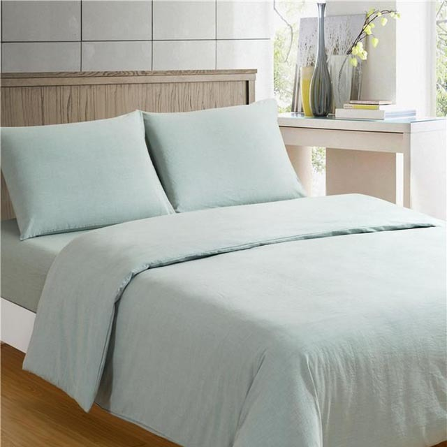 Stone Washed Linen Bed Sheet Set 100% Flax Fabric Home Textile Bedding Set