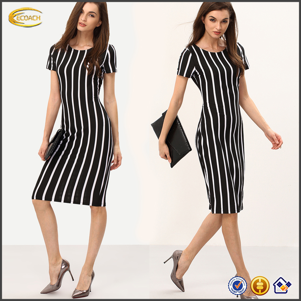 Ecoach wholesale women short sleeve Long Sheath black and white Vertical Striped dress knee length dress pattern