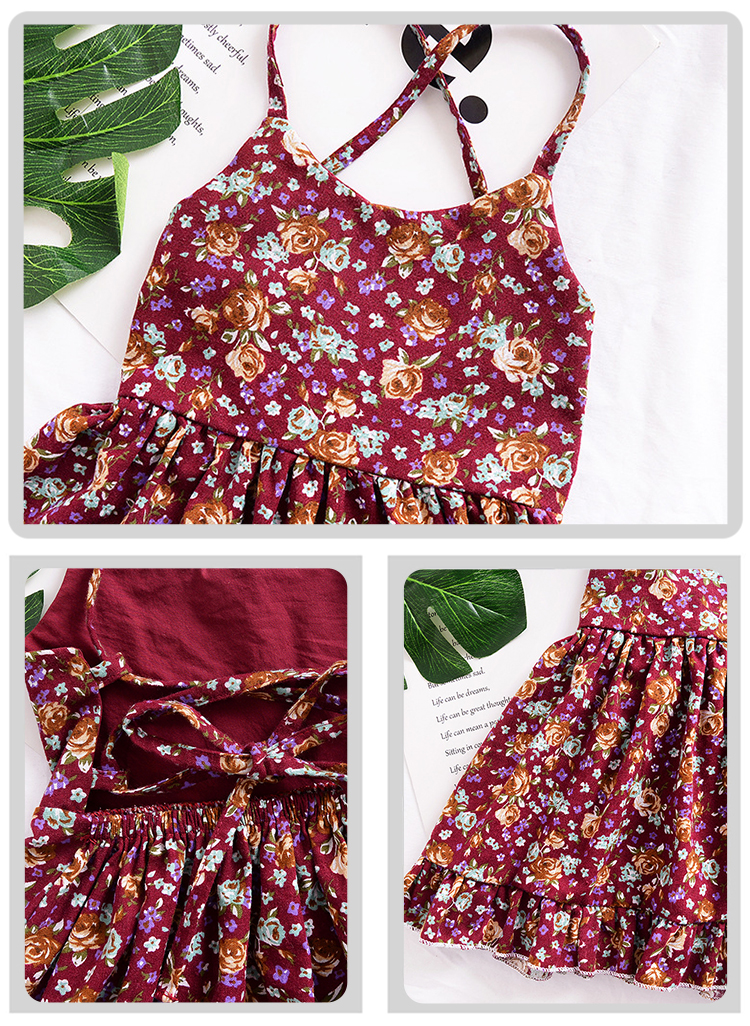 Europe and America summer new retro wind floral girls baby backless strap dress